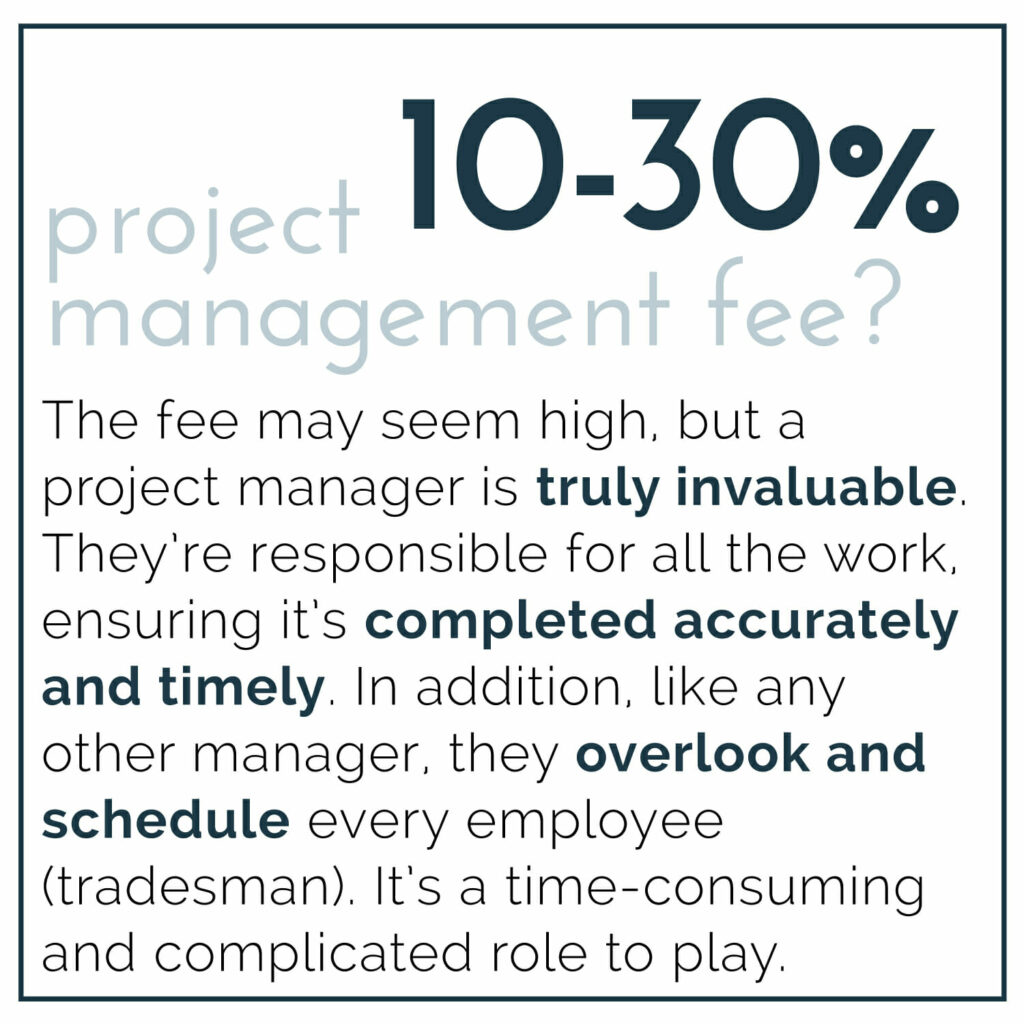 project management fee for remodel